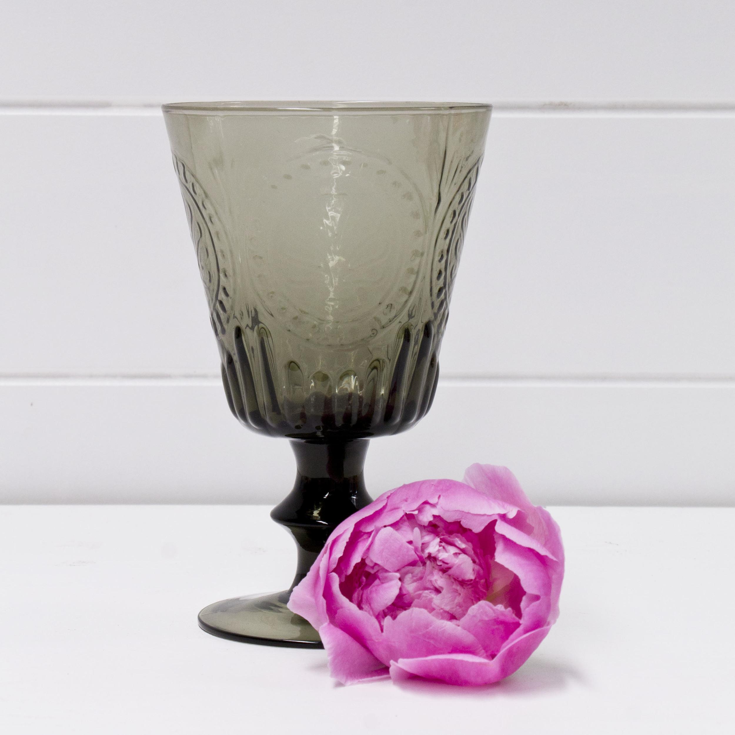 Smoke Glass Pedestal Vase