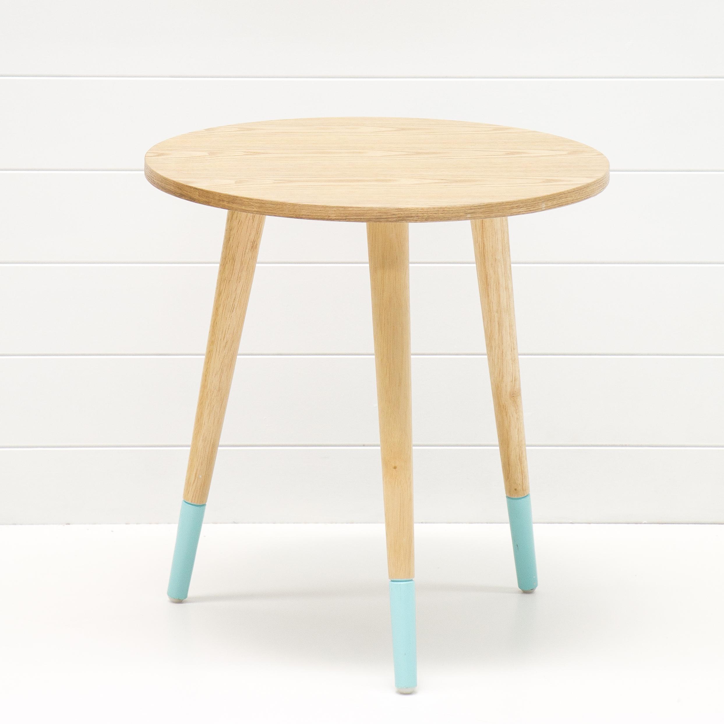 Teak Side Table with Aqua Legs