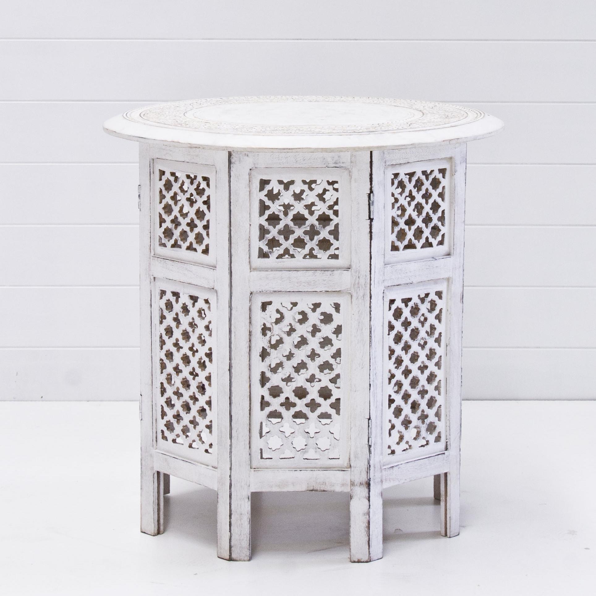 White Boho Side Table
