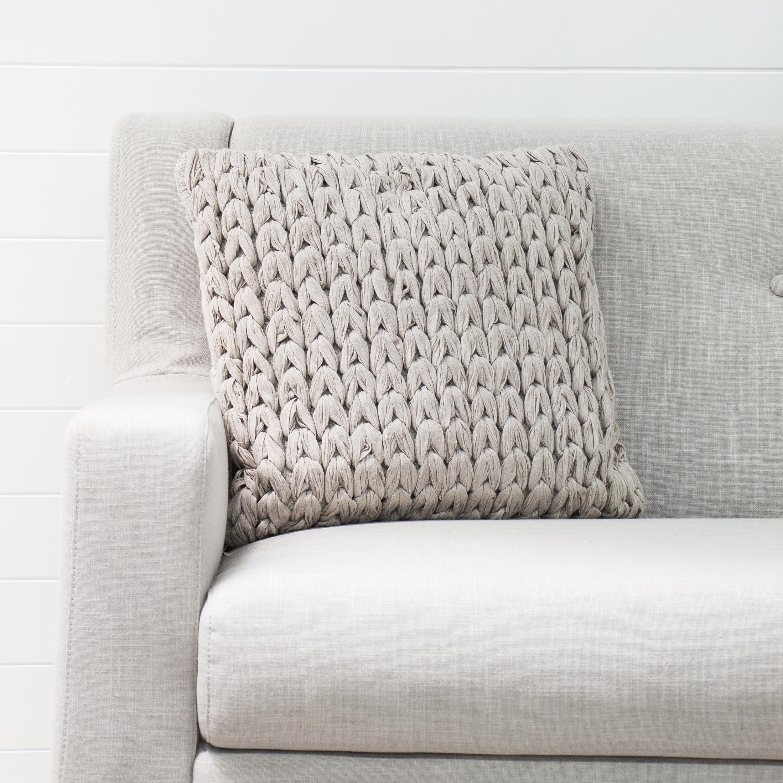 Taupe Woolen Cushion