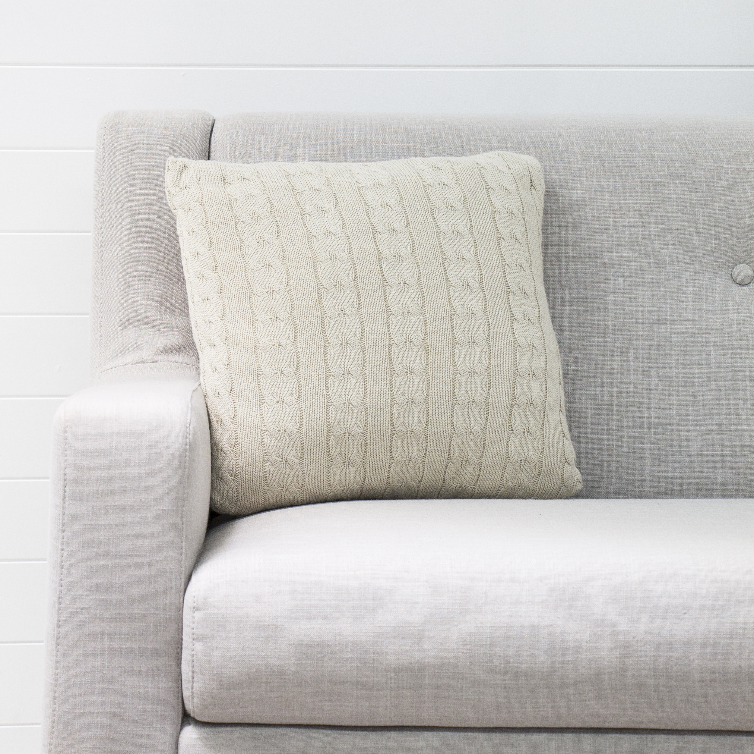 Knitted Taupe Cushion