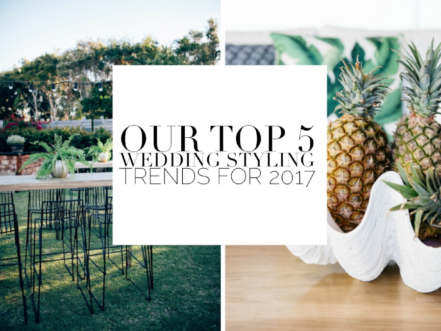 We've done the research for you, and let me tell you there are some pretty damn exciting things to come for 2017 weddings! If you're planning a wedding in 2017 and need to get those creative juices flowing to start making those Big Decisions, then check out the blog for our top 5 wedding styling trends for 2017.