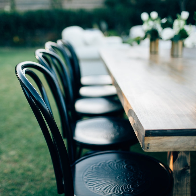 BLACK BENTWOOD CHAIRS  +  FEASTING TABLE