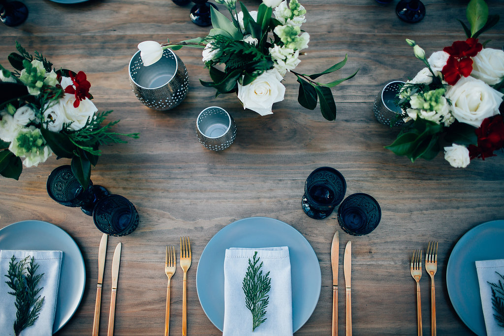 Hampton Event Hire - Wedding and Event Hire | Christmas Table Styling Inspiration at Osteria Casuarina | Gold Cutlery Hire | www.hamptoneventhire.com | Photo by Figtree Pictures