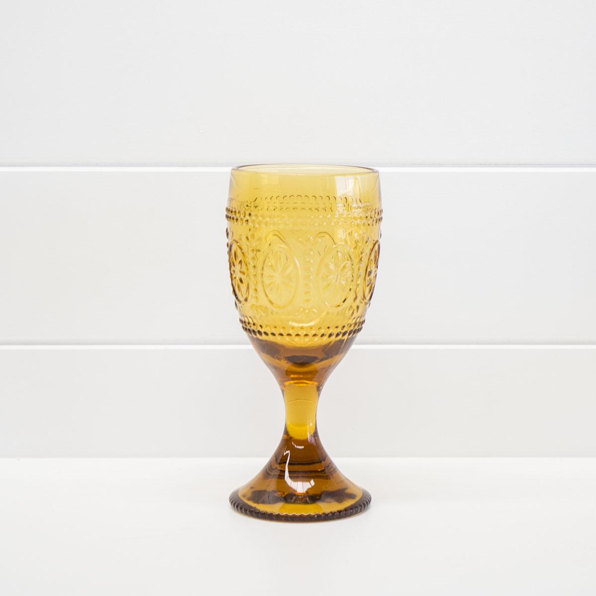 DECORATIVE AMBER WINE GLASS