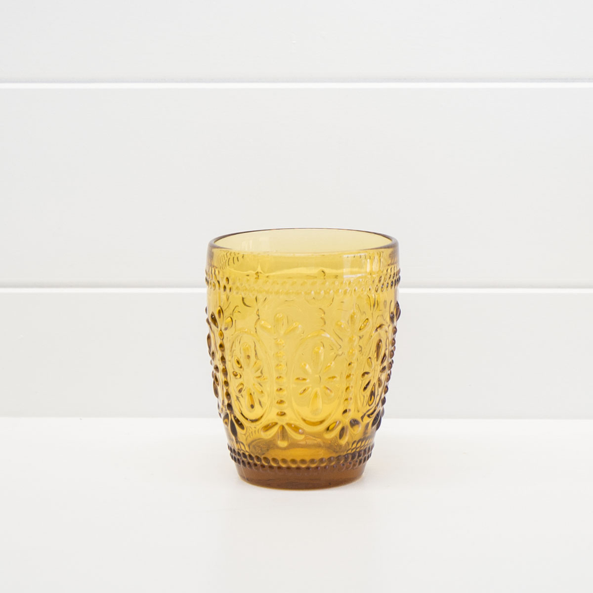 DECORATIVE AMBER WATER GLASS
