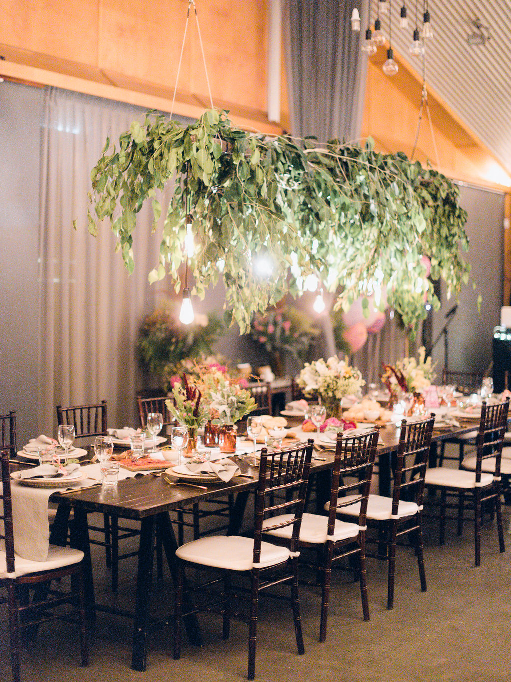 Hampton Event Hire - Wedding and Event Hire | Osteria Casuarina Wedding Reception with Hanging Foliage | Captured by Byron Loves Fawn Photography