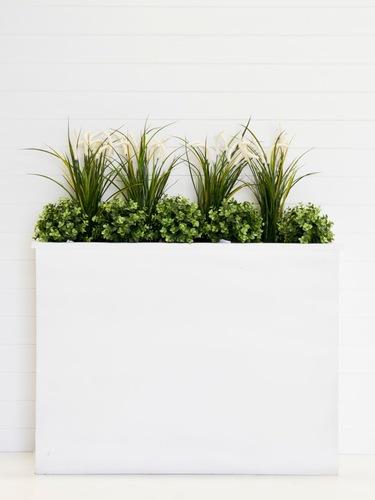 White Planter Box with Plants