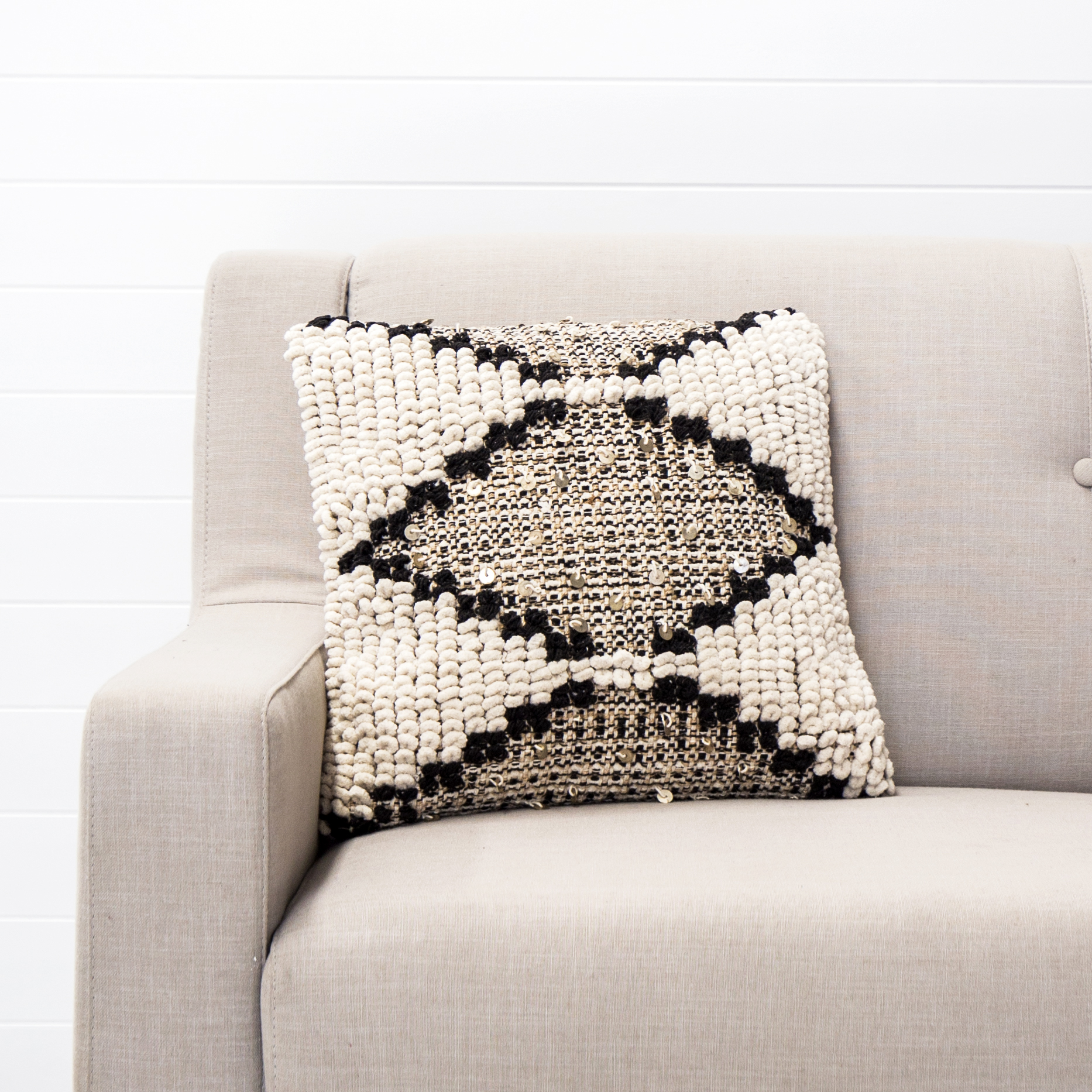 Black and Beige Sequin Cushion