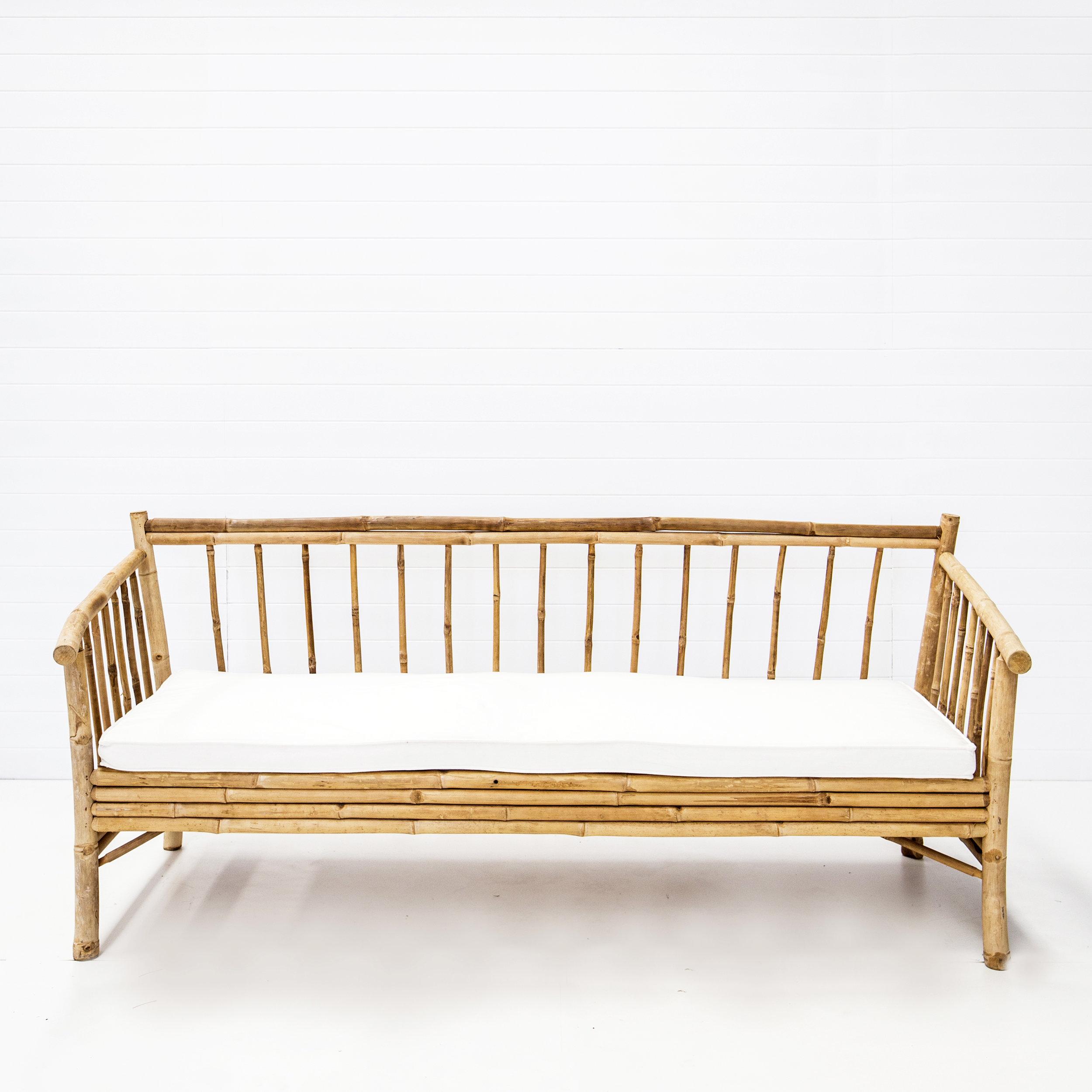 Bahamas Bamboo Sofa with White Seat Cushion