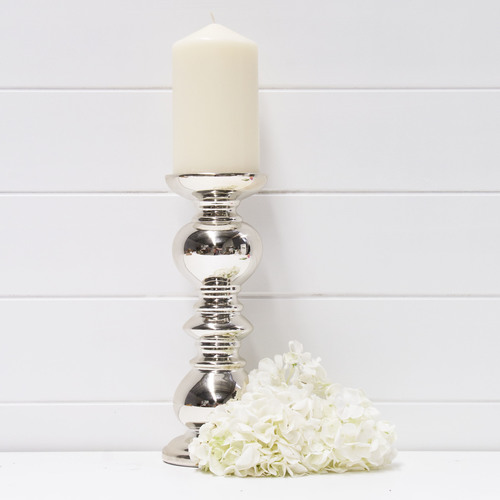 CERAMIC GOLD PILLAR CANDLE HOLDER