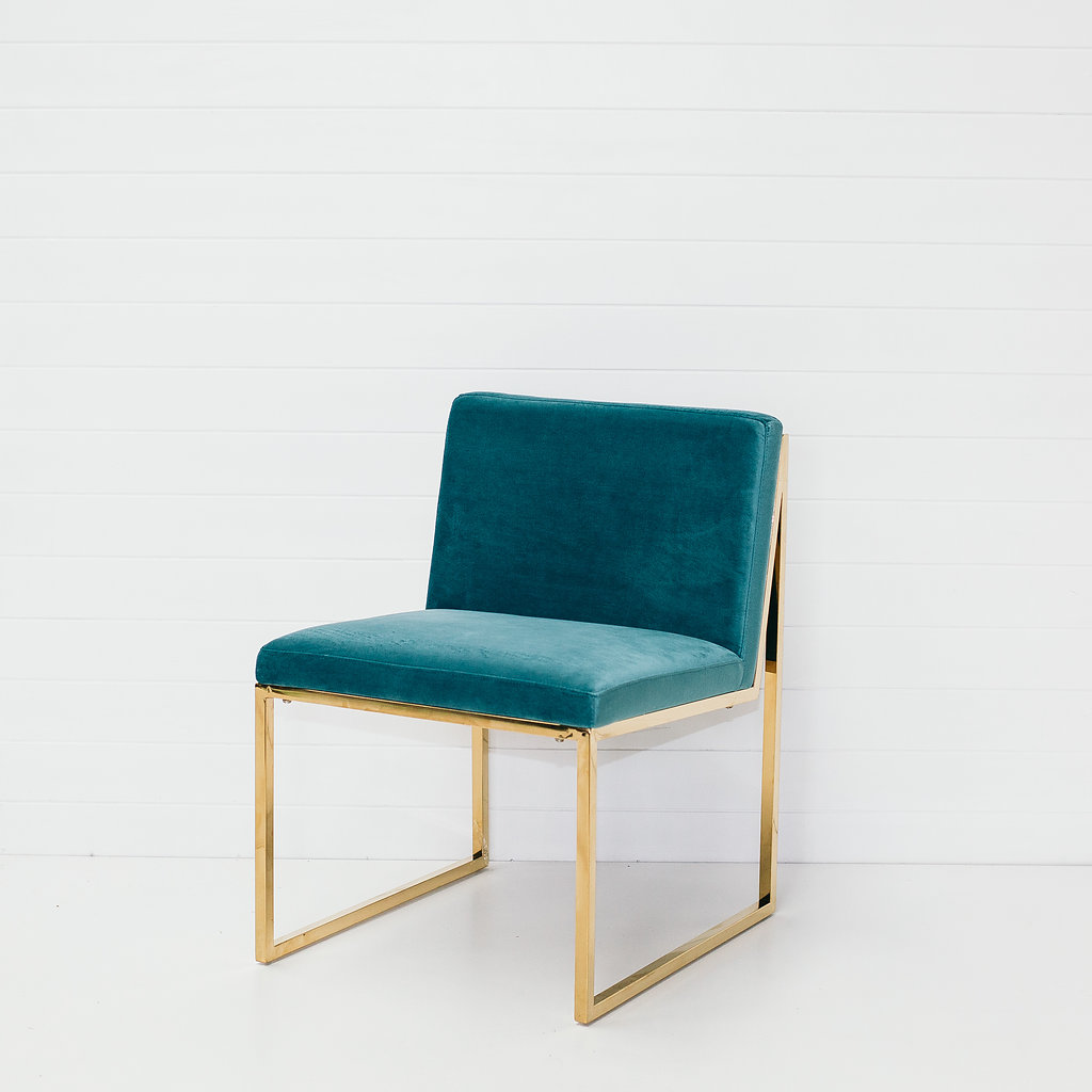 Teal Velvet Chair Without Arms