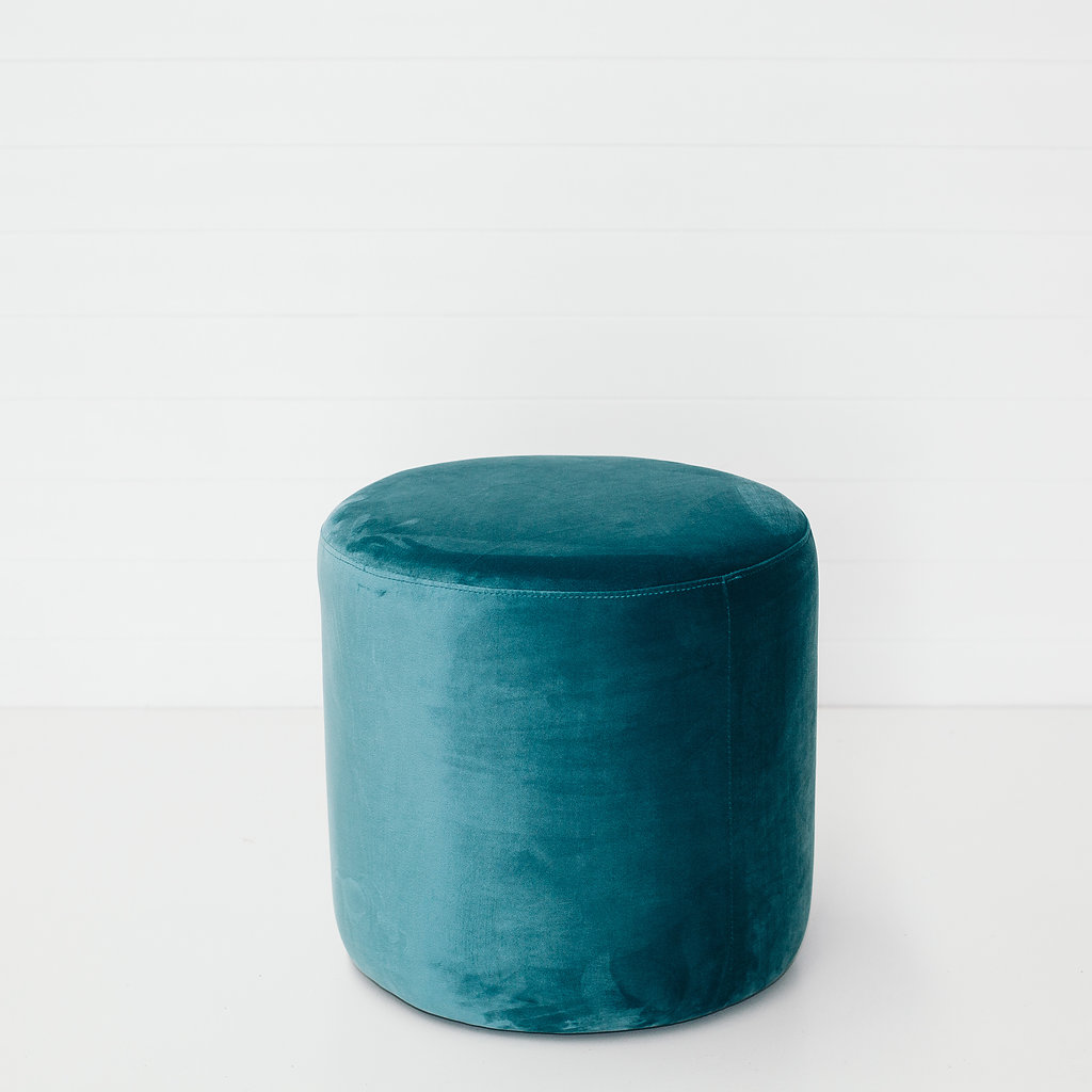 Teal Small Round Ottoman