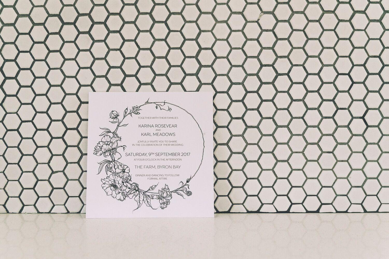 The Farm Byron Bay Wedding | Hampton Event Hire | Photo by Kate Holmes | Wedding invitations