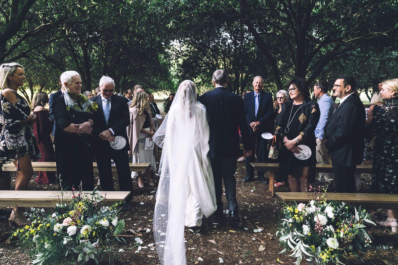 The Farm Byron Bay Wedding | Hampton Event Hire | Photo by Kate Holmes | Ceremony bench seats