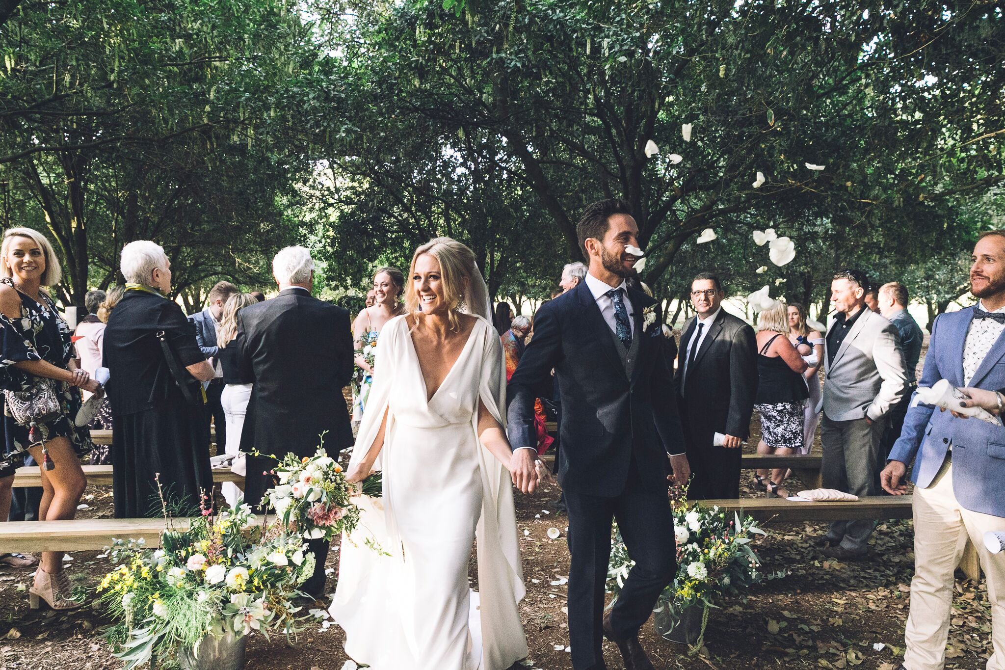 The Farm Byron Bay Wedding | Hampton Event Hire | Photo by Kate Holmes | Petal toss