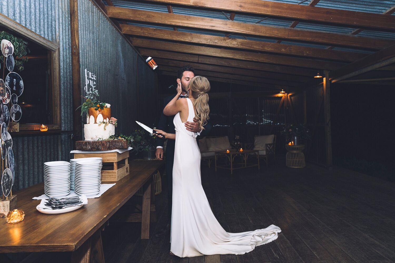 The Farm Byron Bay Wedding | Hampton Event Hire | Photo by Kate Holmes | Cake cutting