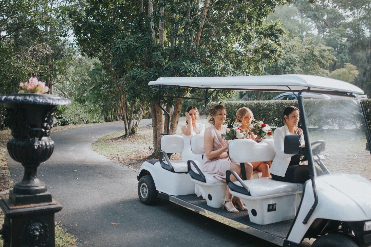 Melissa and Adam Coolibah Downs Wedding | Hampton Event Hire | Photo by White Fox Studios | ceremony buggy