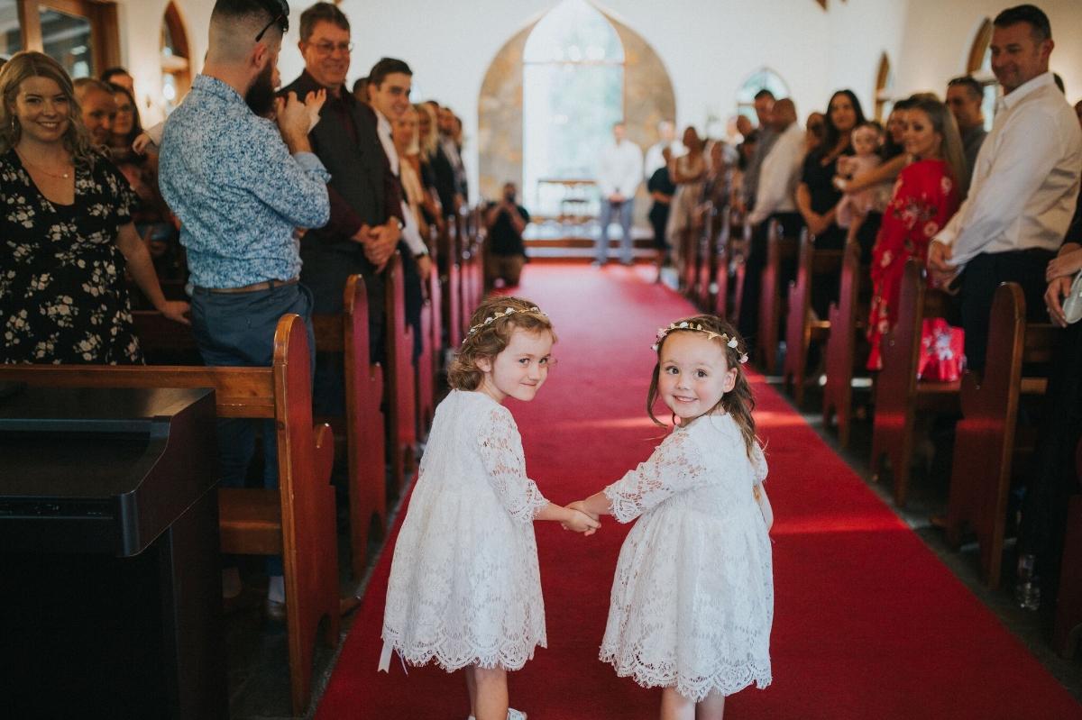 Melissa and Adam Coolibah Downs Wedding | Hampton Event Hire | Photo by White Fox Studios | flowergirls