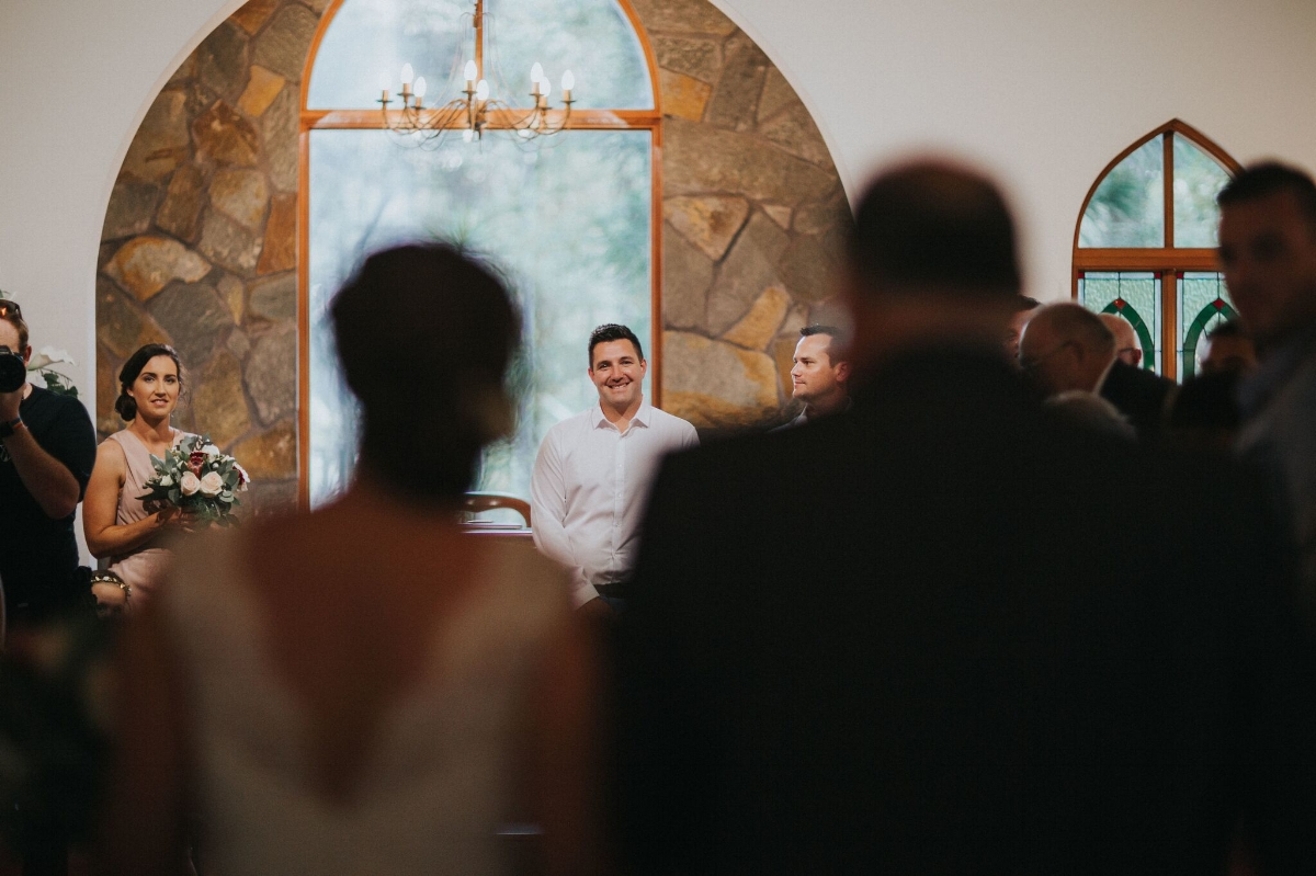 Melissa and Adam Coolibah Downs Wedding | Hampton Event Hire | Photo by White Fox Studios | groom at altar