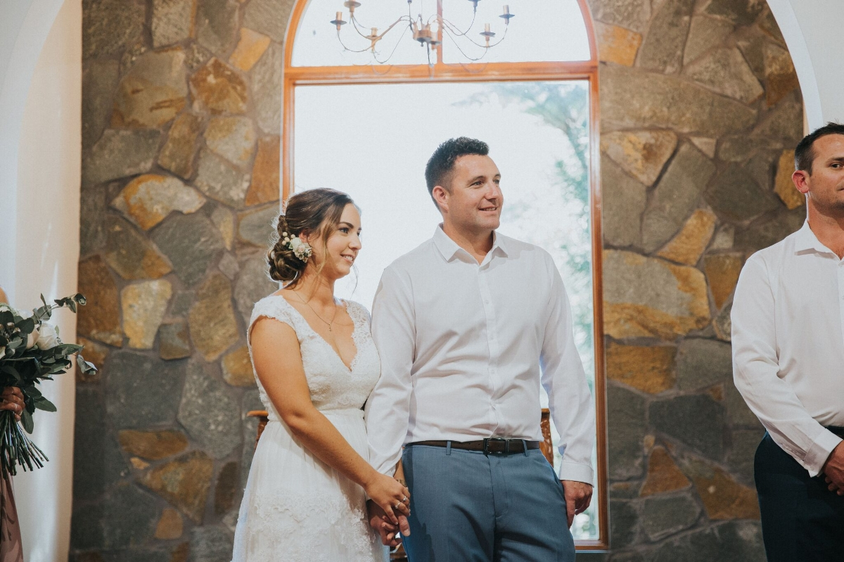 Melissa and Adam Coolibah Downs Wedding | Hampton Event Hire | Photo by White Fox Studios | bride and groom