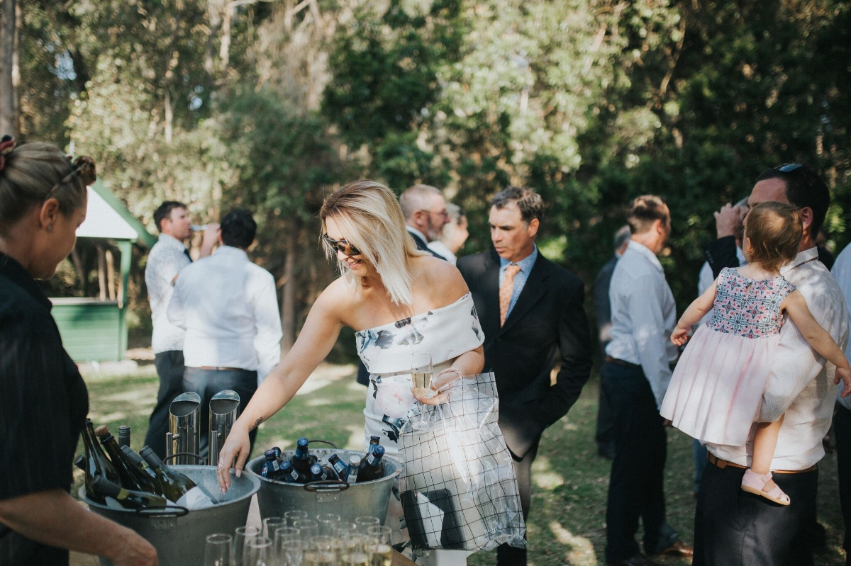 Melissa and Adam Coolibah Downs Wedding | Hampton Event Hire | Photo by White Fox Studios | champagne