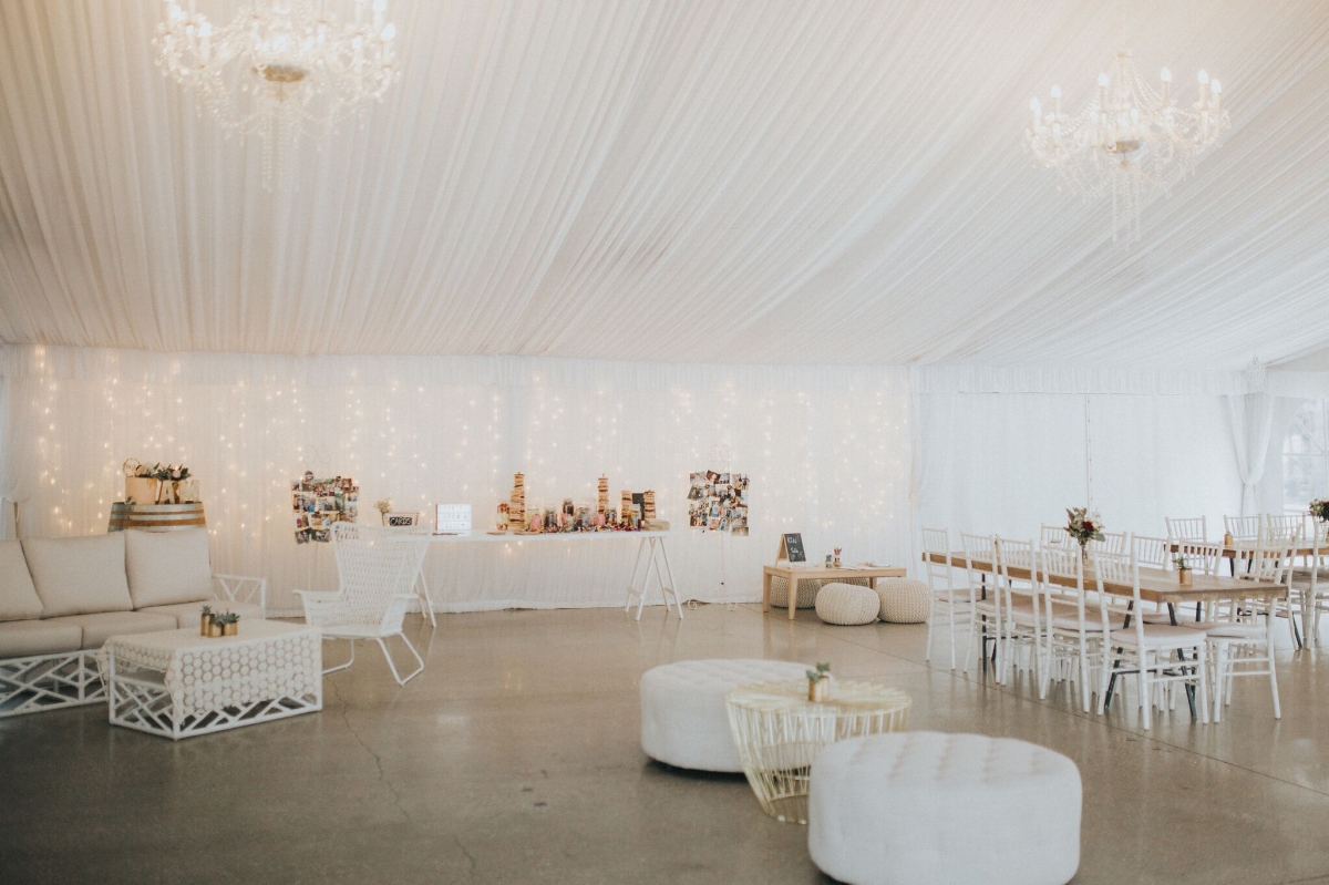 Melissa and Adam Coolibah Downs Wedding | Hampton Event Hire | Photo by White Fox Studios | marquee reception
