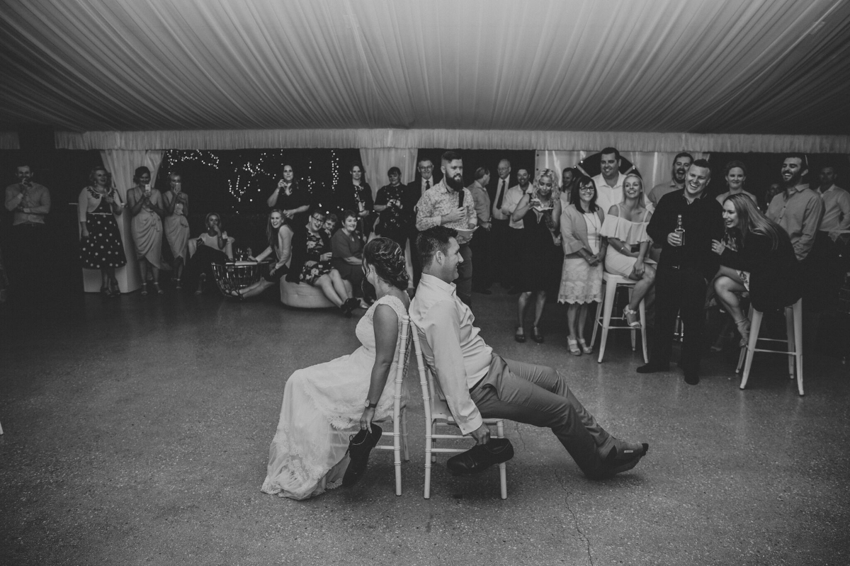 Melissa and Adam Coolibah Downs Wedding | Hampton Event Hire | Photo by White Fox Studios | shoe game
