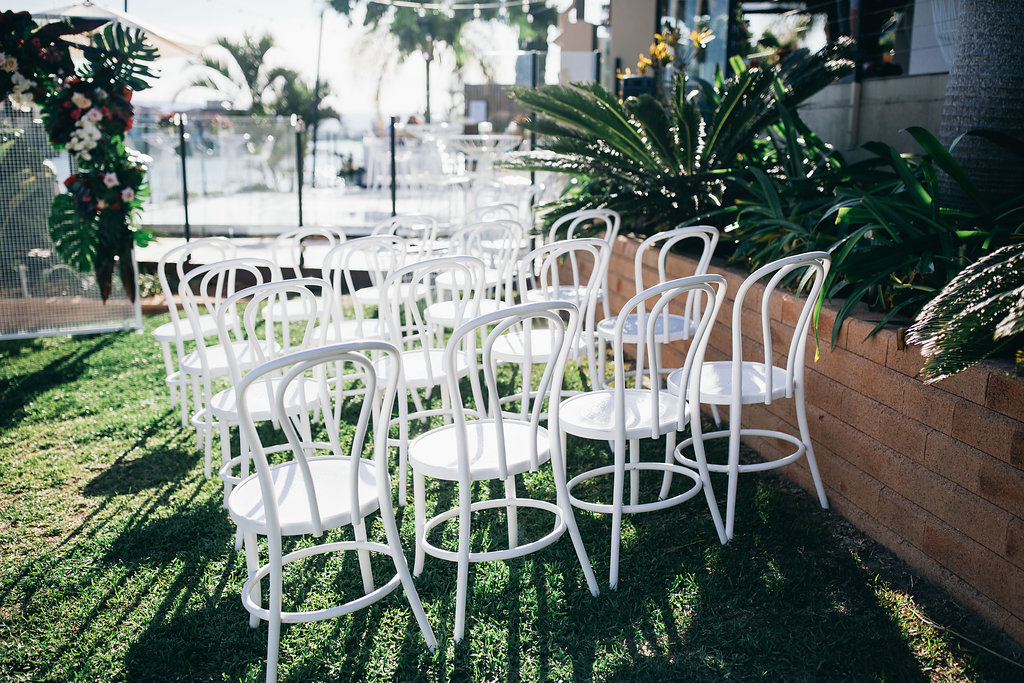 Real Wedding - Carmen and Nick | Gold Coast wedding venue | Hampton event hire | White bentwood chairs