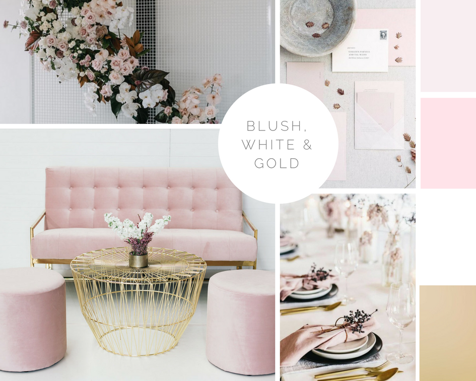 Wedding colour palette trends for 2018, with Hampton Event Hire
