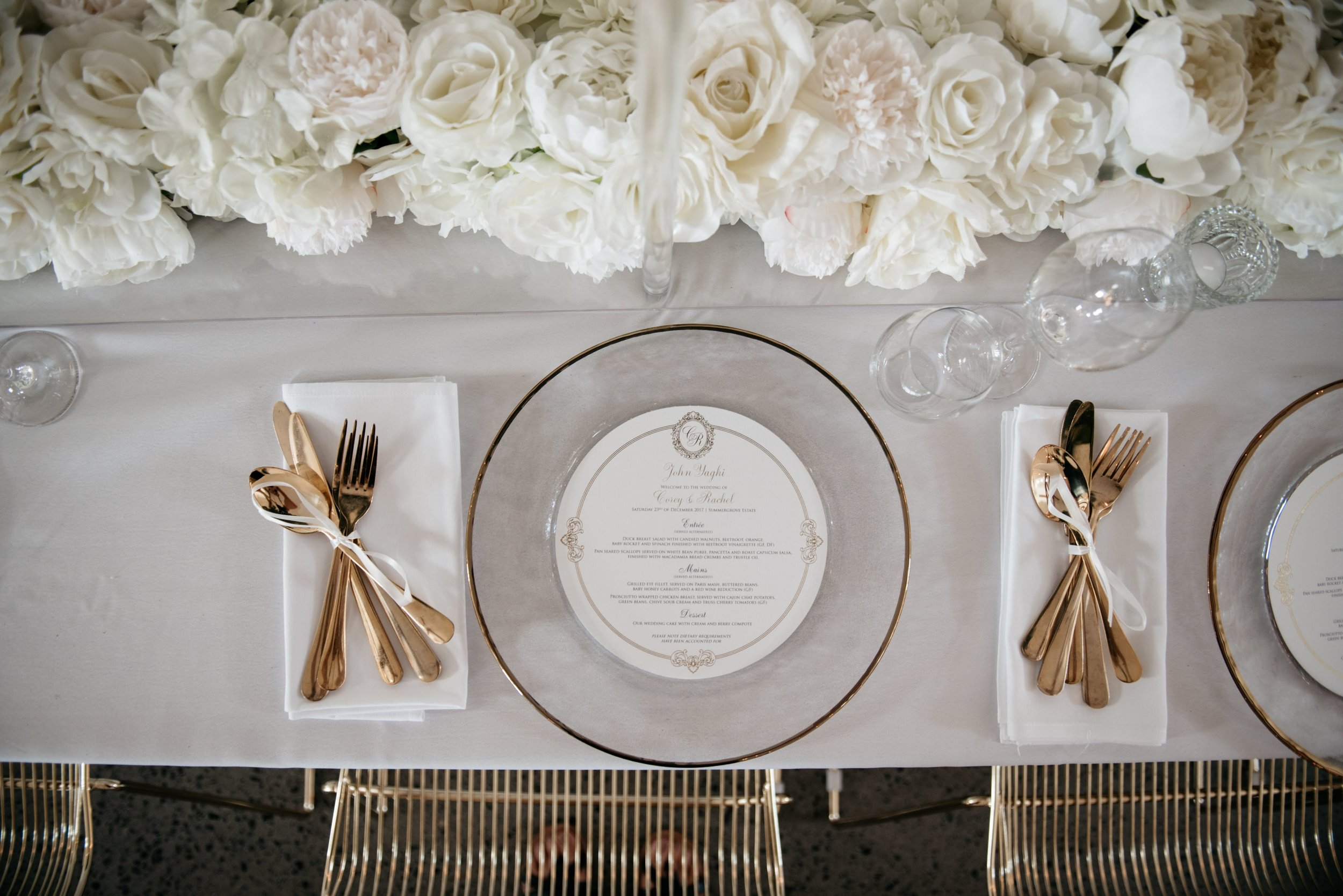 Real Wedding at Summergrove Estate Barn, Hampton Event Hire Blog, Tableware and Gold Cutlery