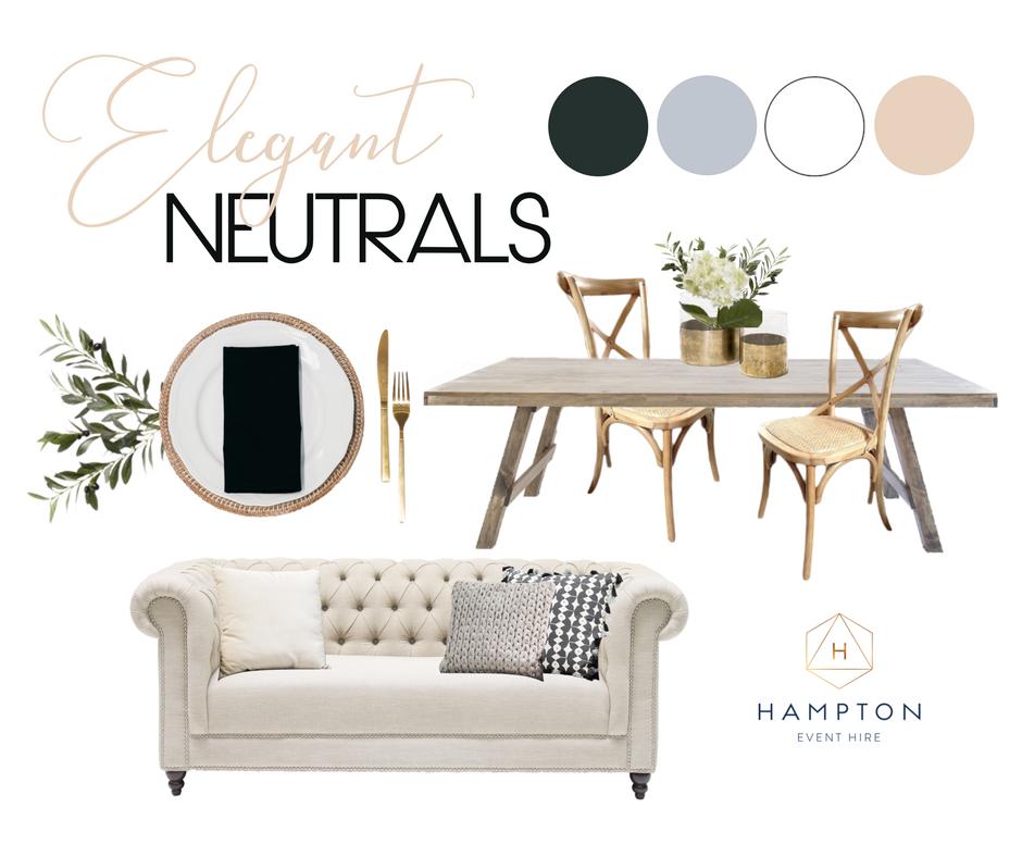 Elegant Neutral Wedding Styling Mood Board with Hampton Event Hire, Gold Coast Wedding Hire