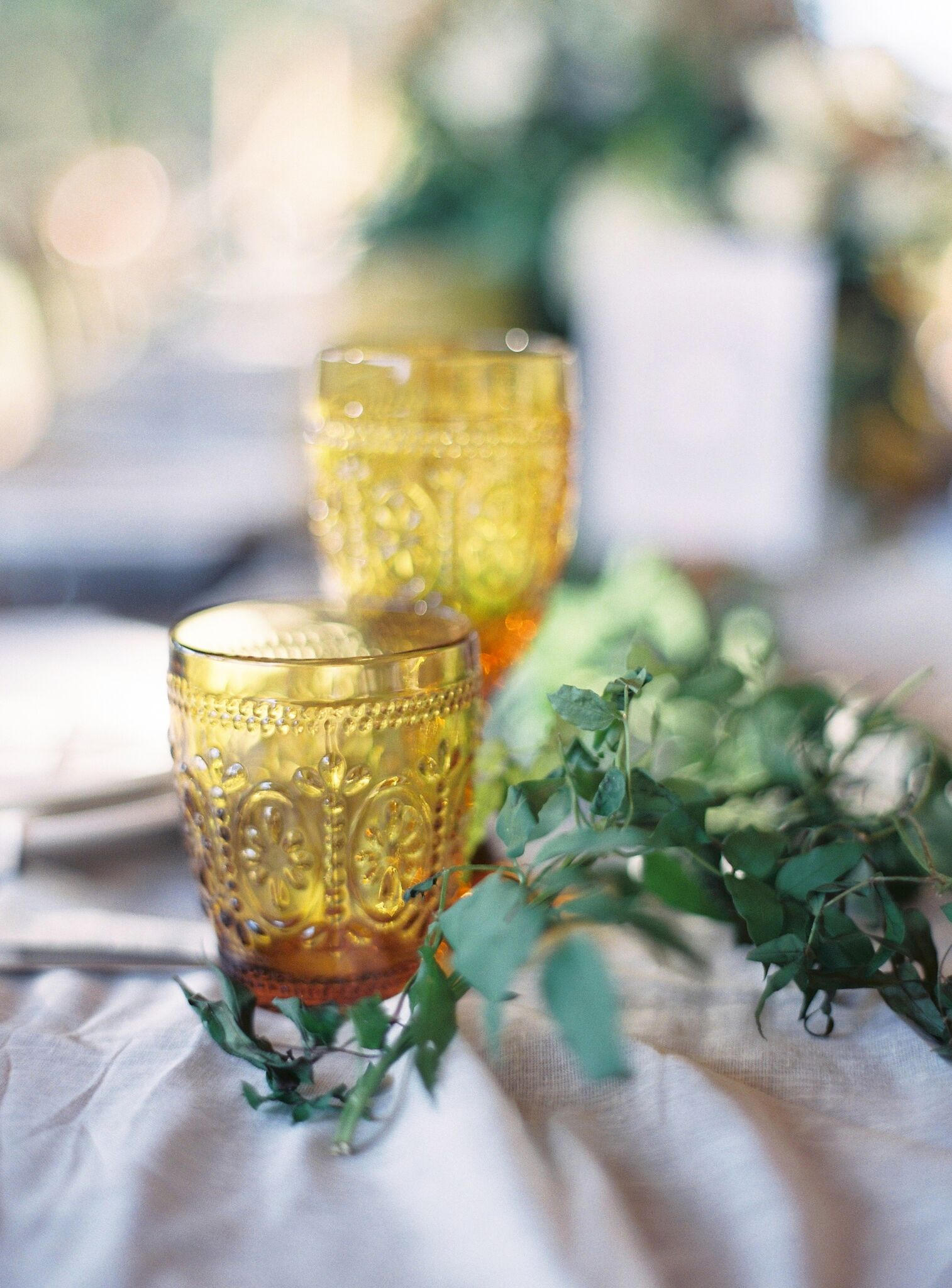 Wedding Tableware Hire Checklist - Image via Byron Loves Fawn Photography - Coloured Glassware Hire