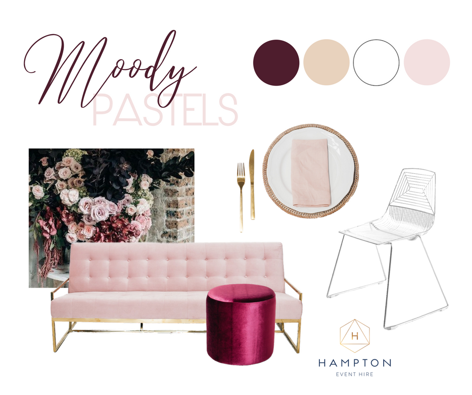 Moody Pastel Wedding Styling Inspiration   Hampton Event Hire, Gold Coast wedding furniture