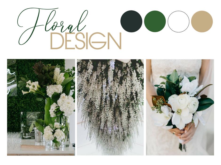 Green & Gold Wedding Styling Inspiration: Image 1 via  Lucas & Co  / Image 2 via  Hobbs & Eames  / Image 3 via  M. K. Sadler