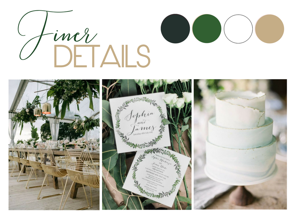 Green & Gold Wedding Styling Inspiration: Image 1 via  Lucas & Co  / Image 2 via  Kaitlin Maree Photography / Image 3 via  Judy Pak