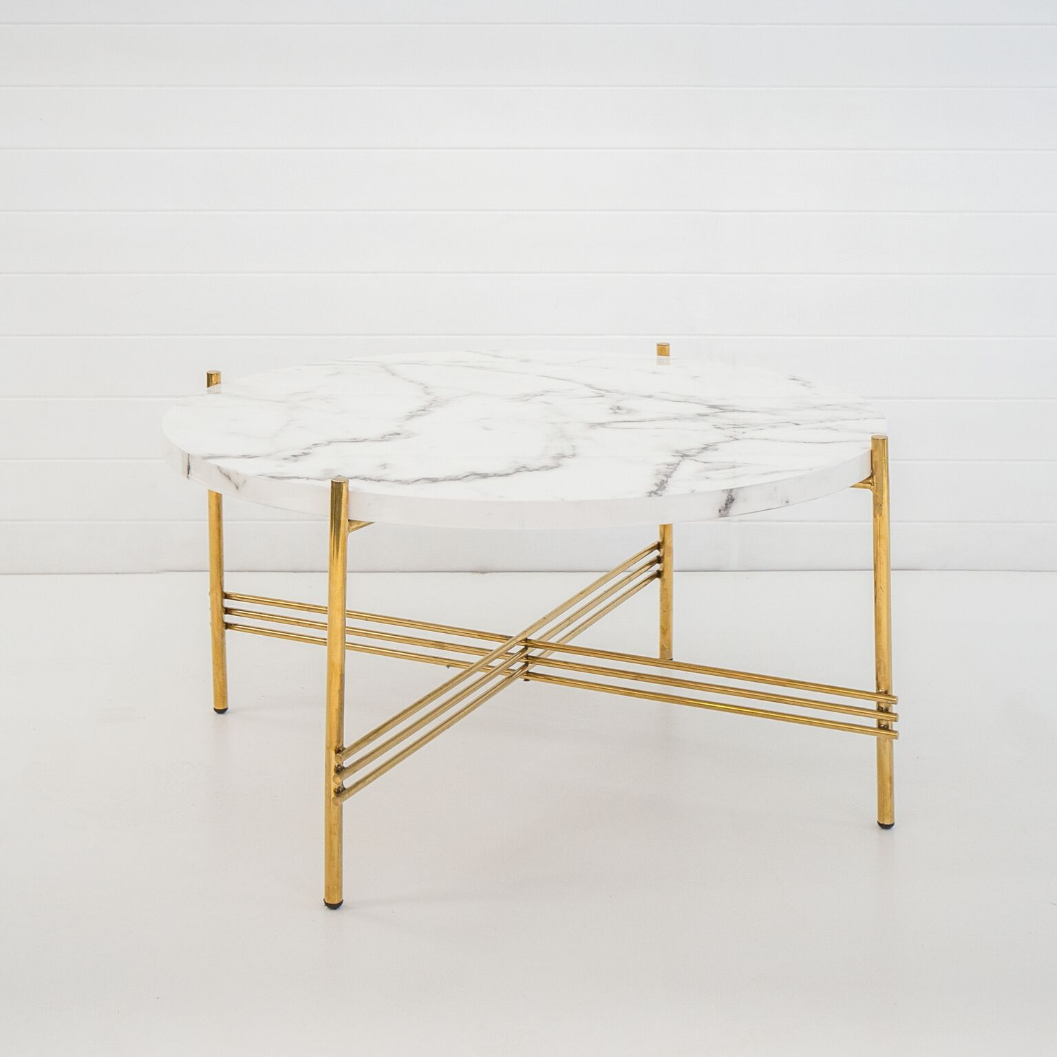 GOLD ICELANDIC COFFEE TABLE WITH WHITE MARBLE