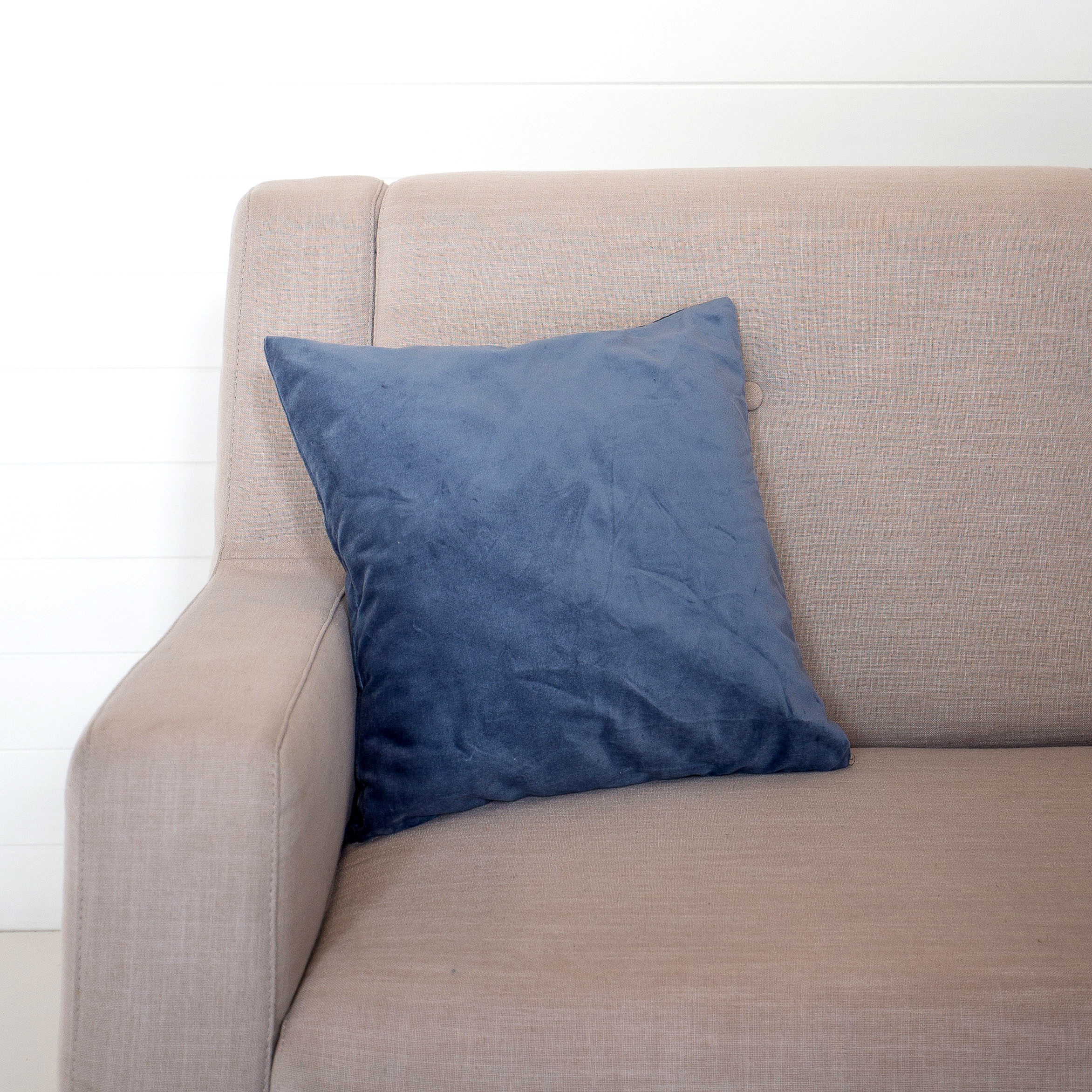 Mini Blue Velvet Cushion