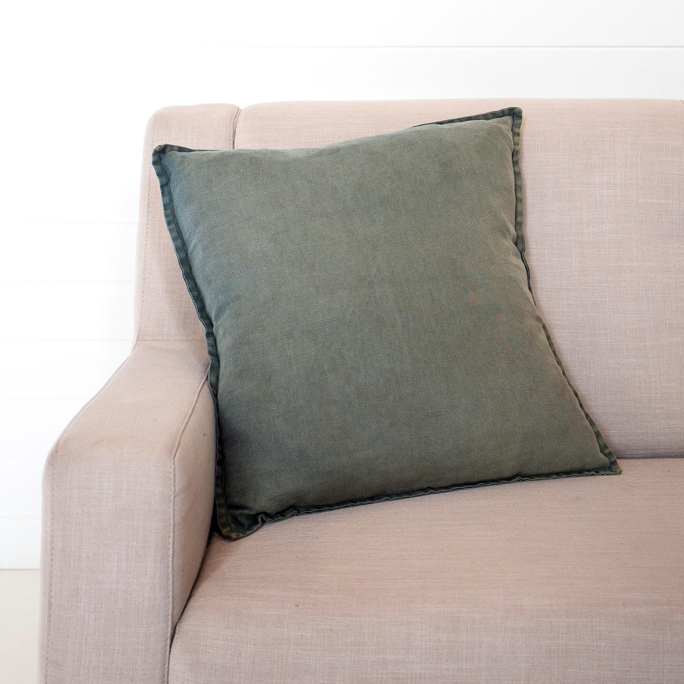 Stonewashed Linen Forest Cushion