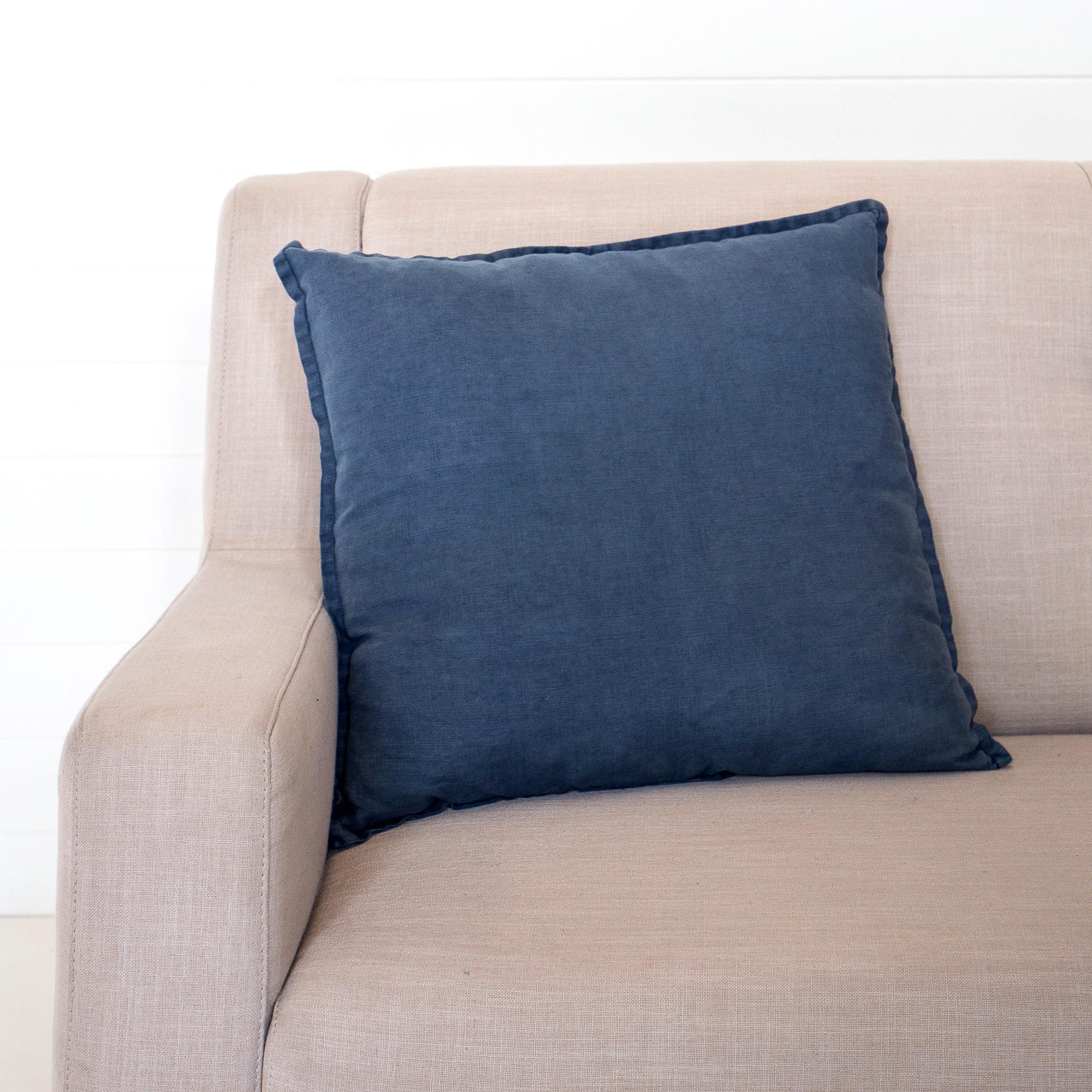 Stonewashed Linen Blue Ink Cushion
