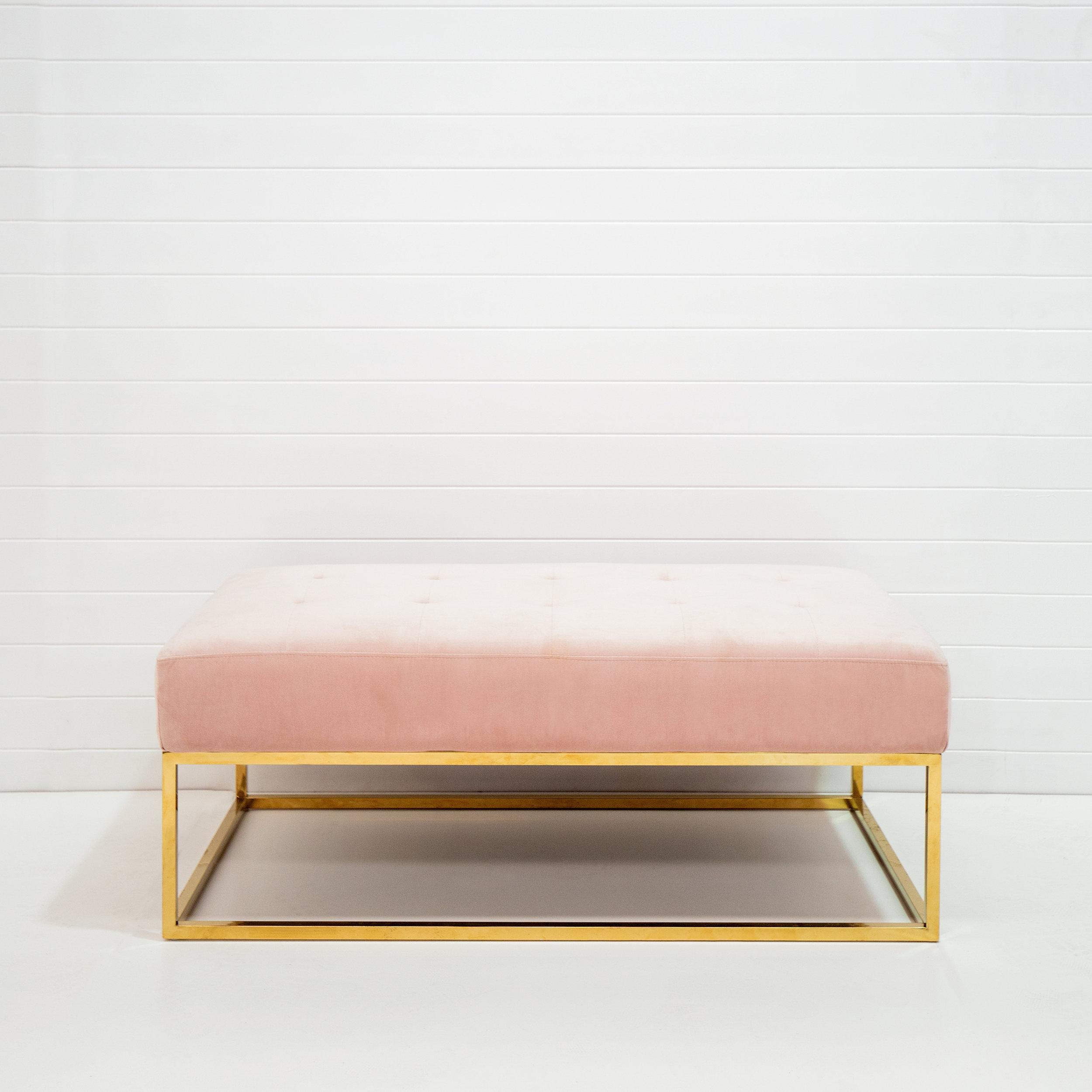 Blush velvet bench ottoman