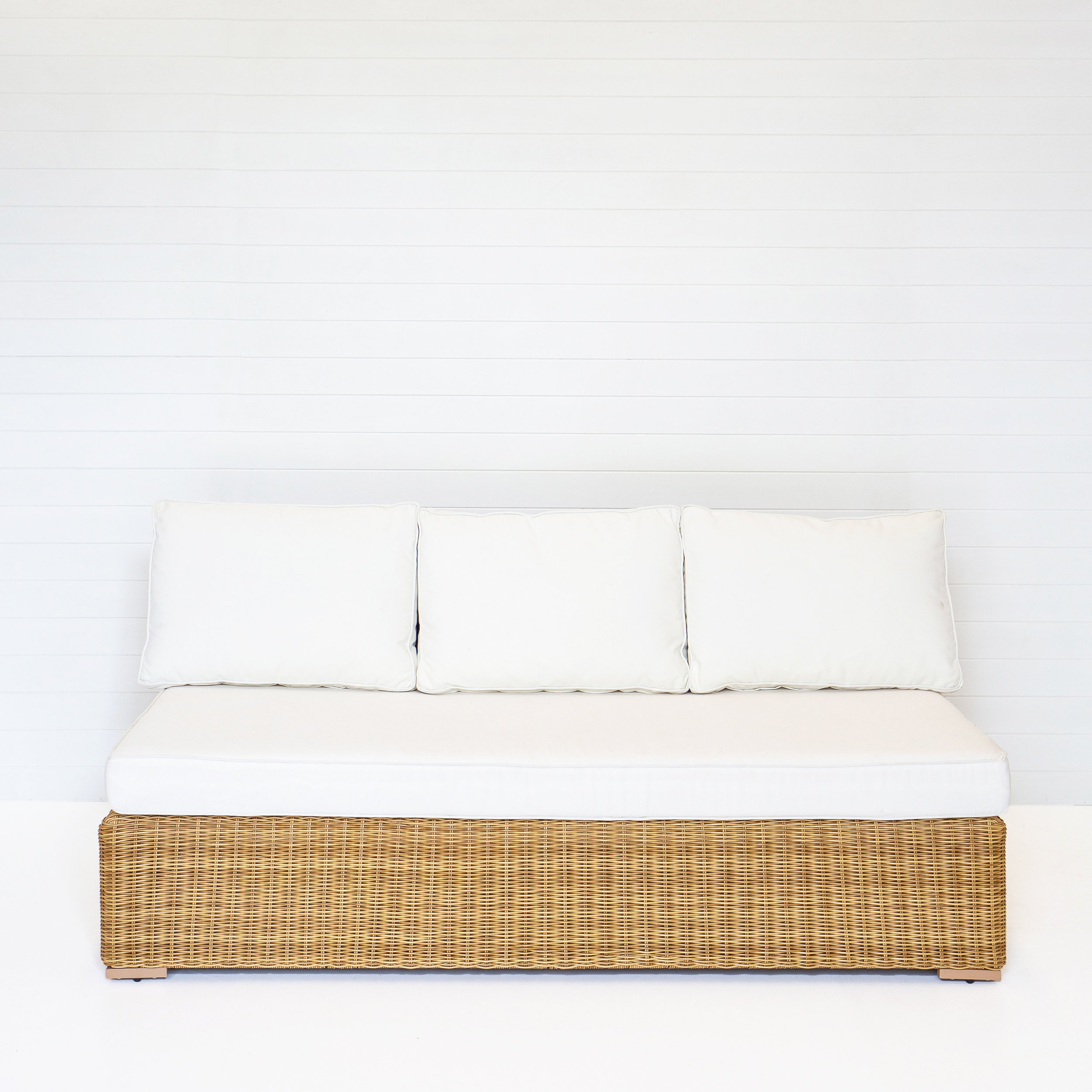 Dune Three Seater Modular Sofa (No-Arms) With White Cushions