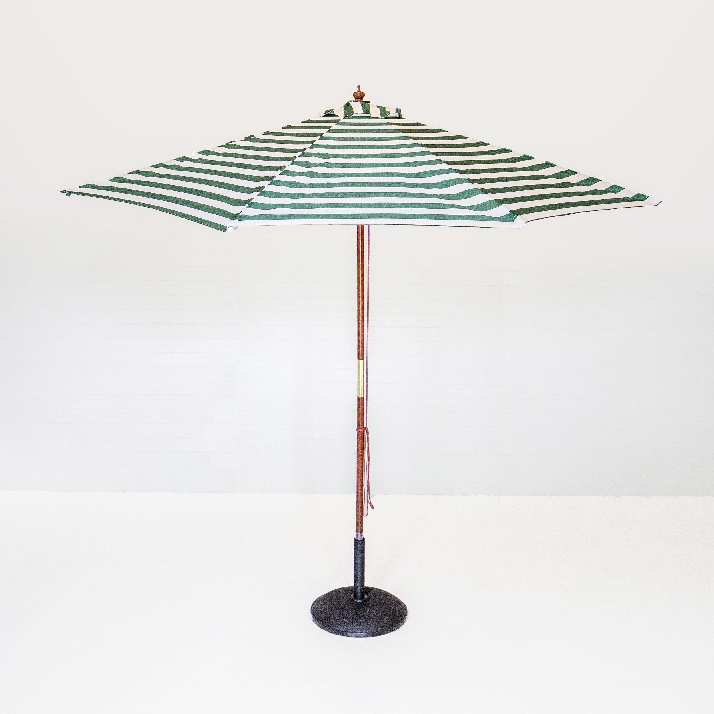 Green and White Stripe Market Umbrella