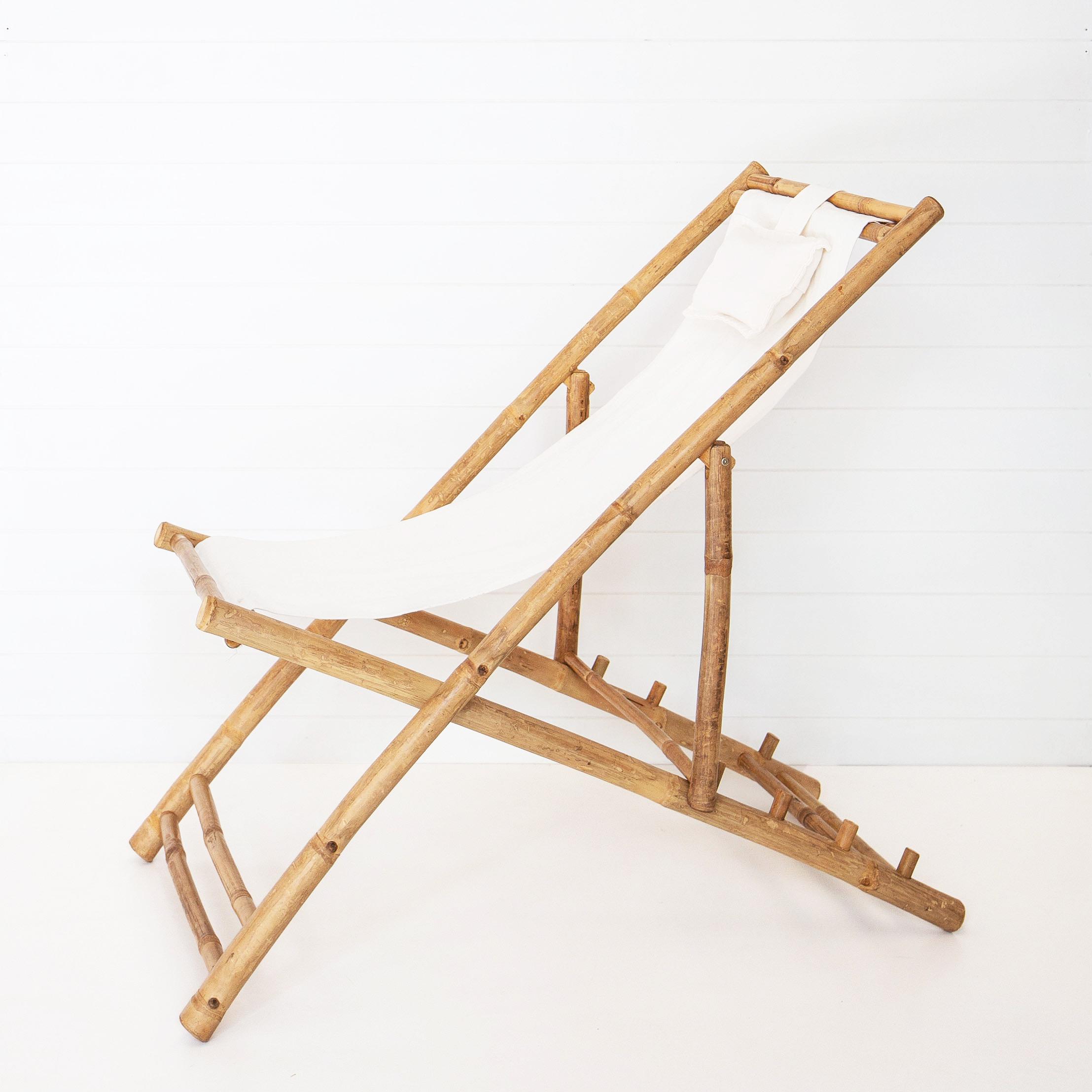 White Bamboo Deck Chair