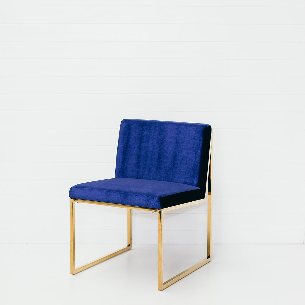 Navy Velvet Armchair Without Arms