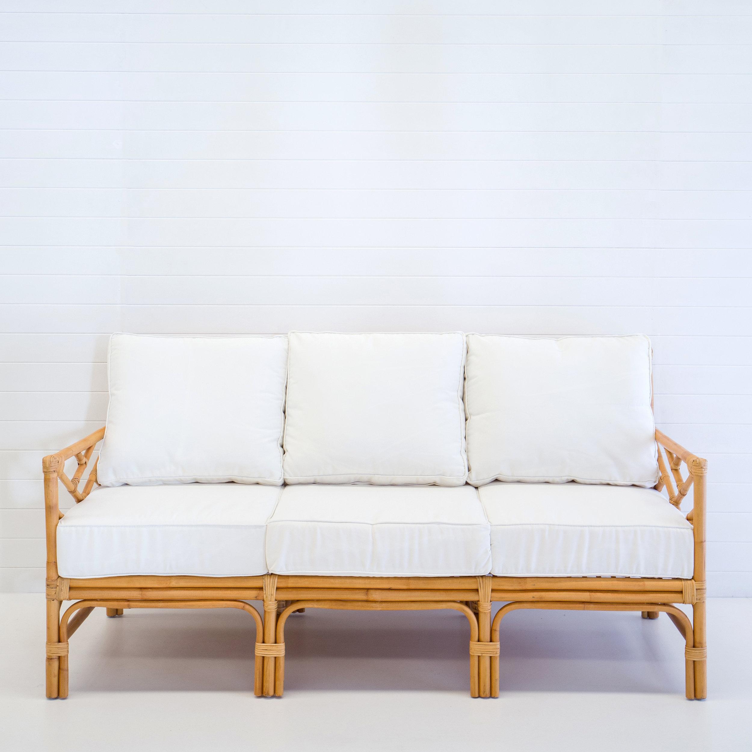 Hamptons natural 3-seater sofa (with white cushions)