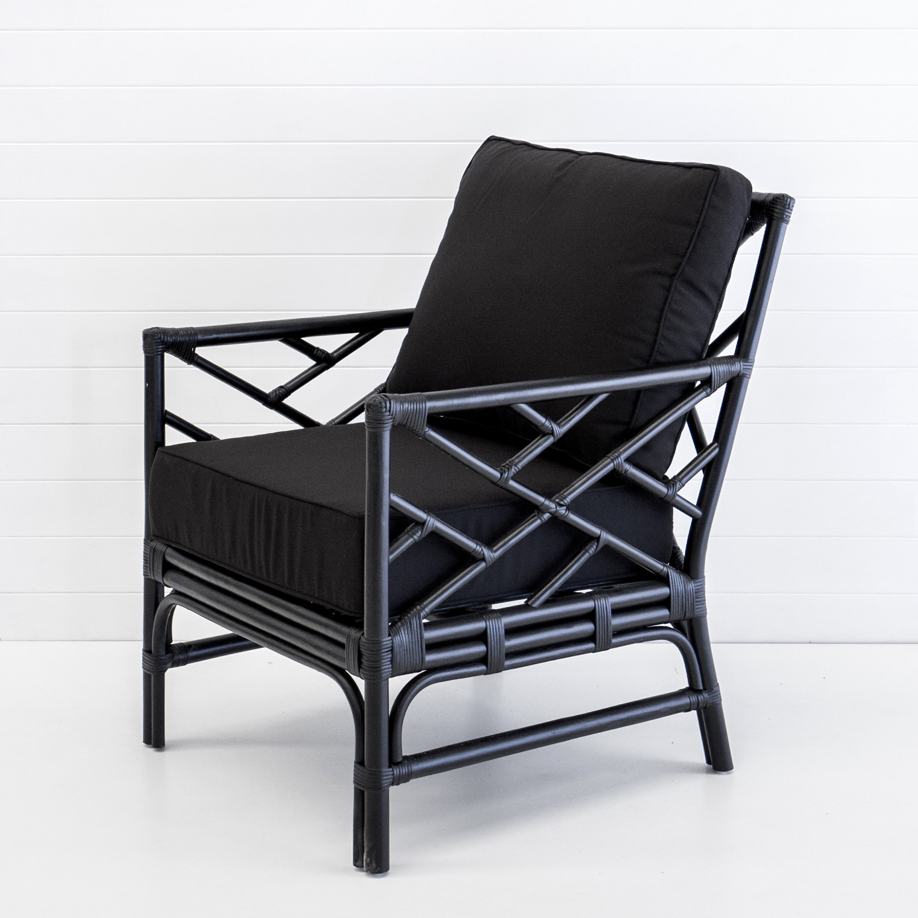 Hamptons black armchair with black cushions