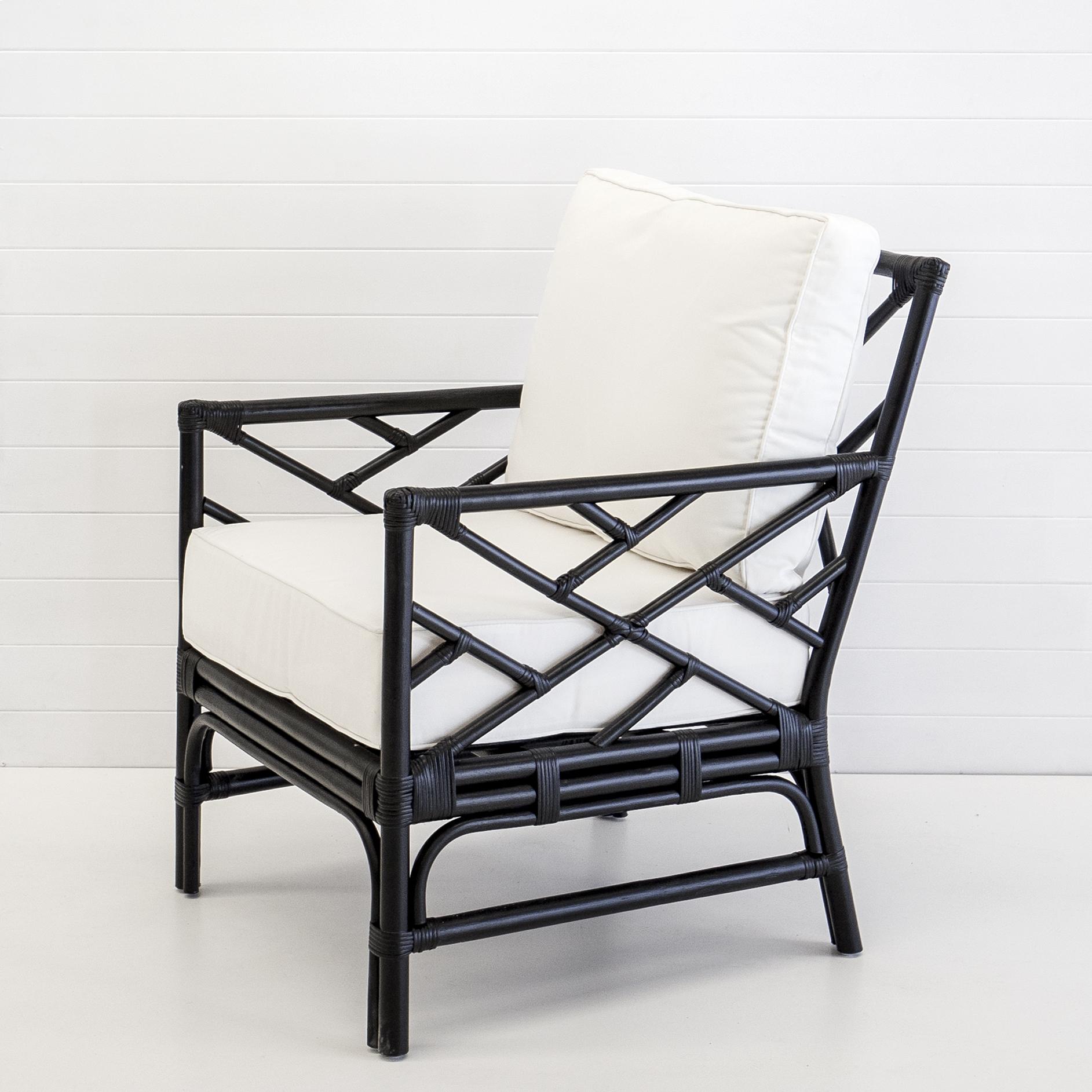 Hamptons black armchair with white cushions