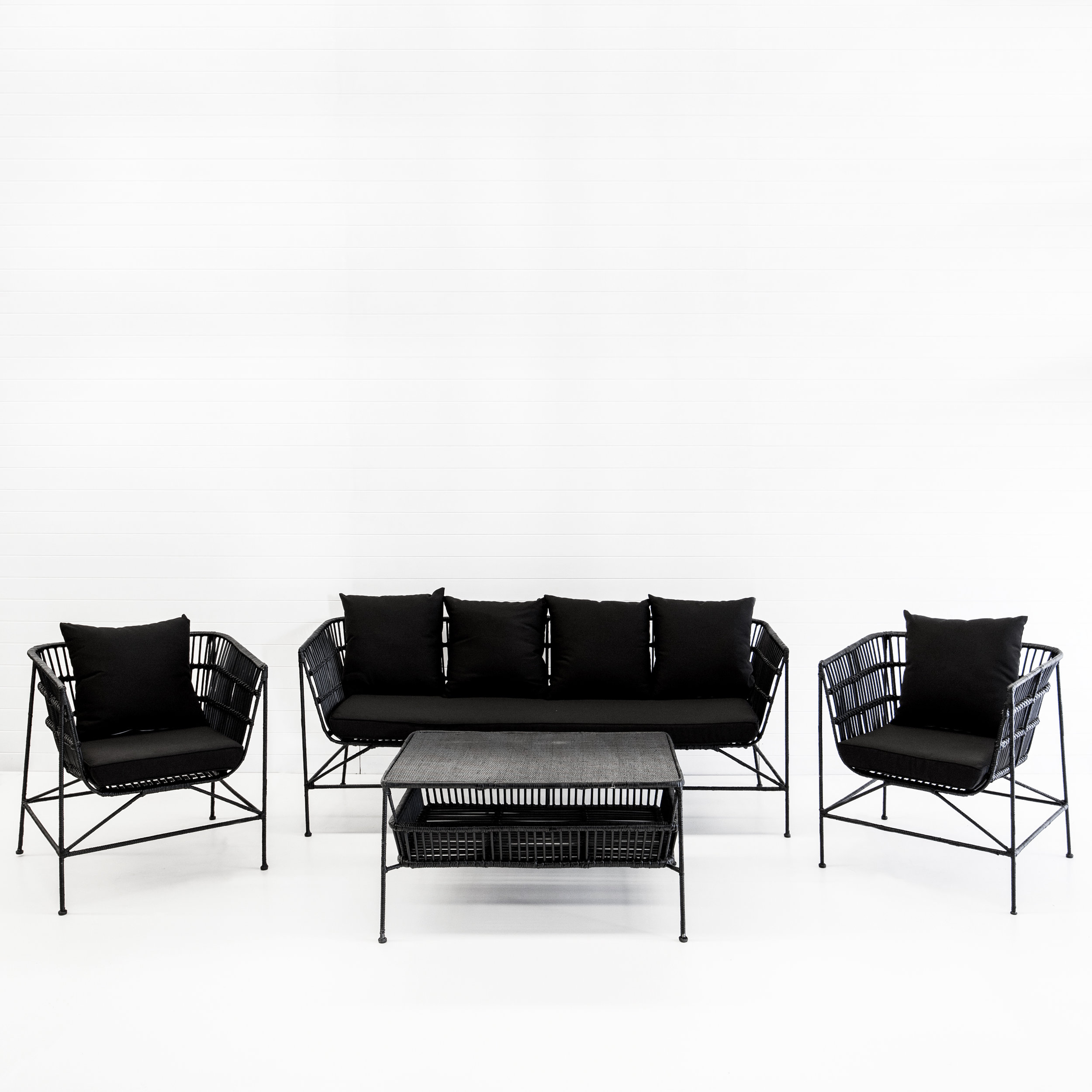 INDIE BLACK SOFA PACKAGE WITH BLACK CUSHIONS