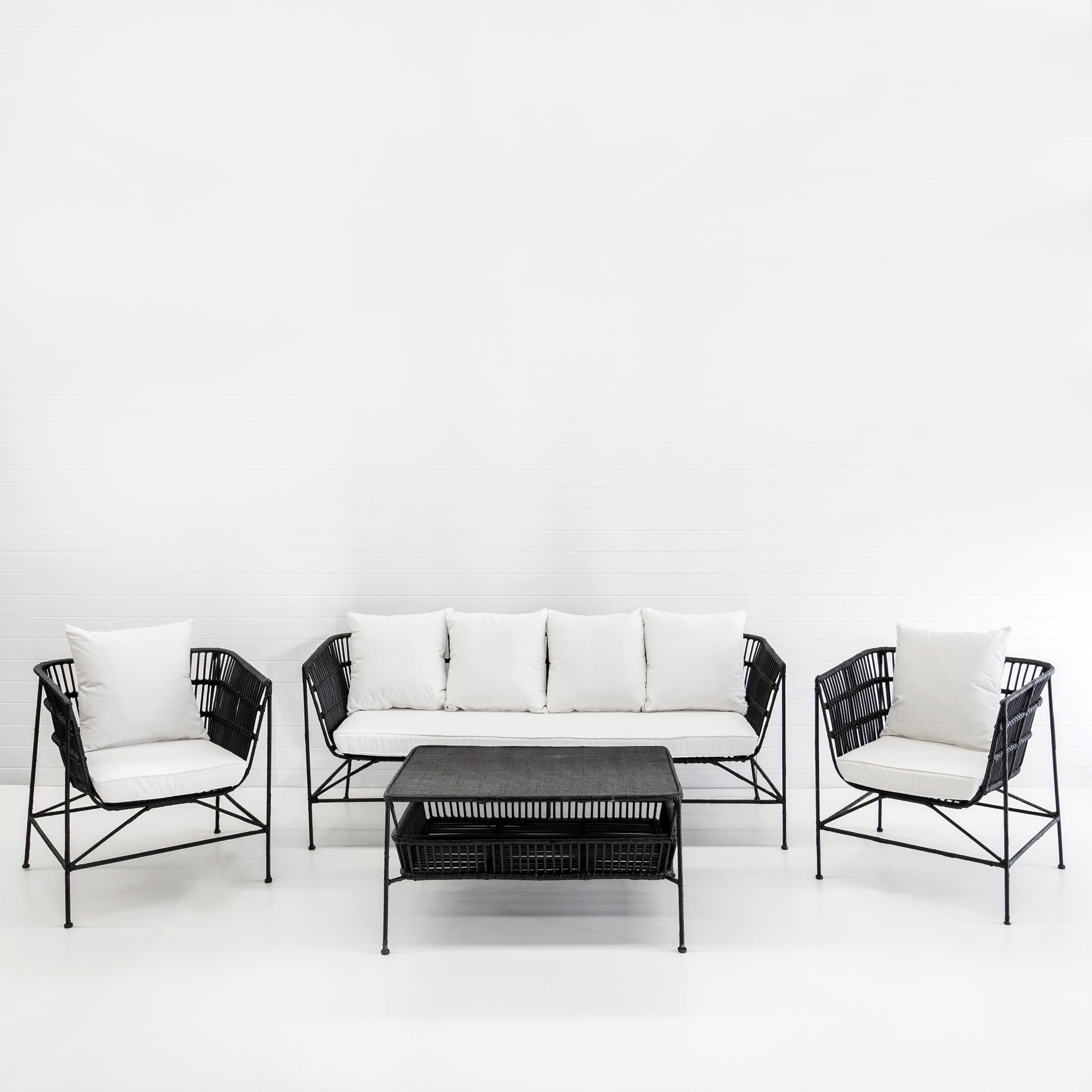 INDIE BLACK SOFA PACKAGE WITH WHITE CUSHIONS